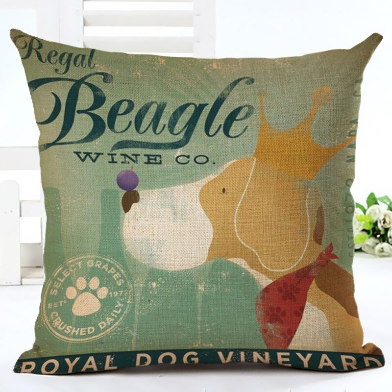 Linen Cotton Decoration Pillow Cover Dog Pattern Throw Pillowcase Home Decor Square Cushion Cover For Sofa/Bed 45x45cm