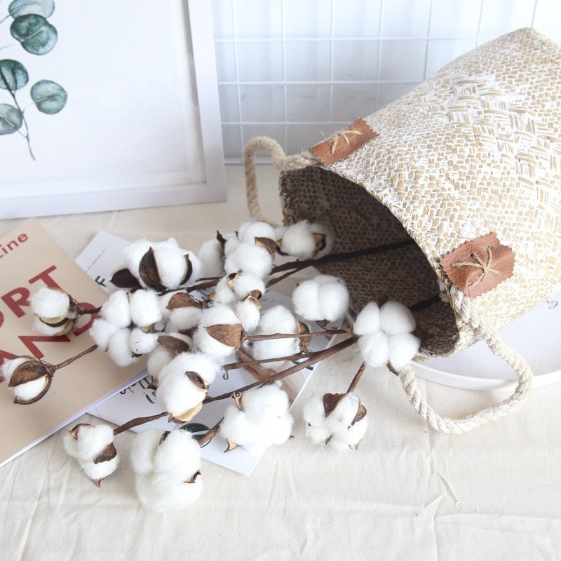 Naturally Dried Cotton Flowers Artificial Plants Floral Branch for Wedding Party Decoration Fake Flowers Home Artificial Decor