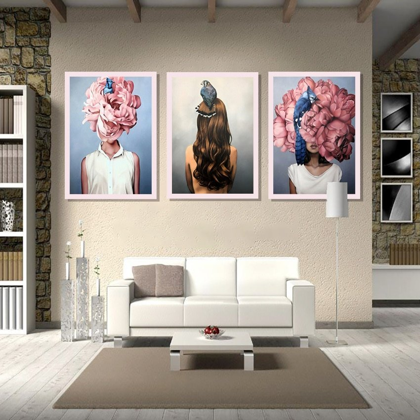 Lovely Bird Lady Home Decor Nordic Canvas Painting Wall Art Animal Figure Picture Art Posters And Prints For Living Room Decor
