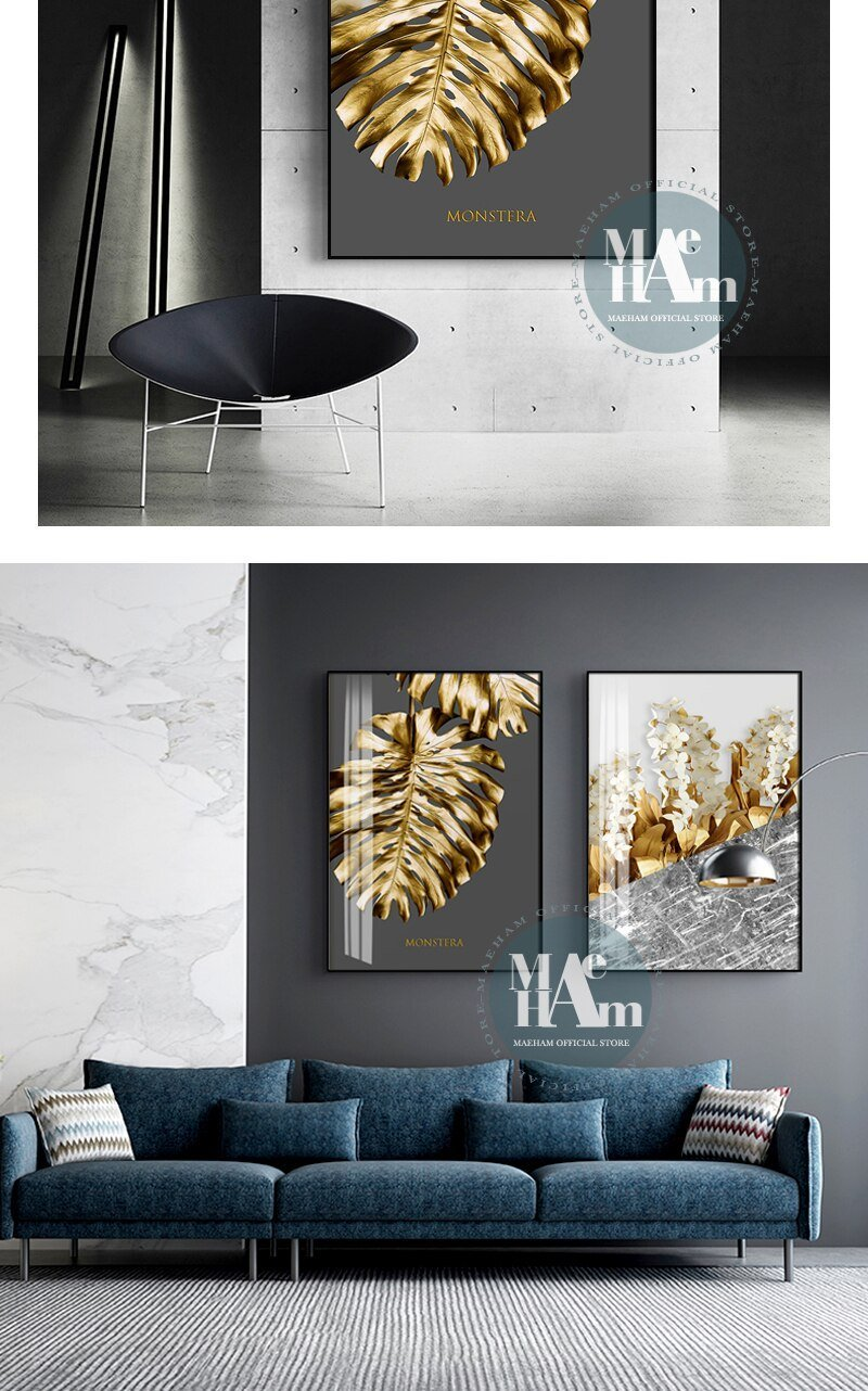 Nordic Golden abstract leaf flower Wall Art Canvas Painting Black white feathers Poster Print Wall Picture for Living Room Decor
