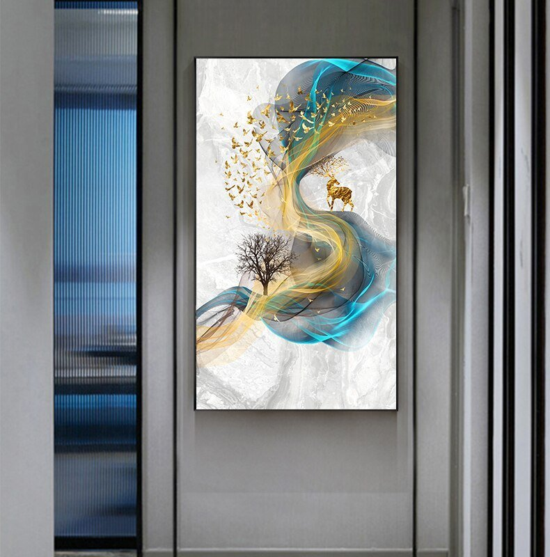 Abstract Golden Deer Paintings Wall Pictures Modern Canvas Painting Blue Poster Print Wall Art For Living Room Bedroom Nordic